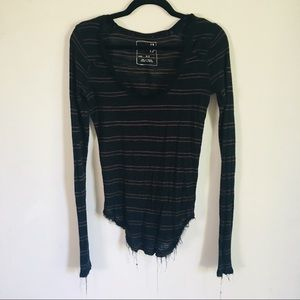 We the free long sleeve frayed top striped